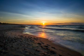 Zachód słońca nad Morzem Bałtyckim. Zatoka Gdańska, Gdańsk Sobieszewo