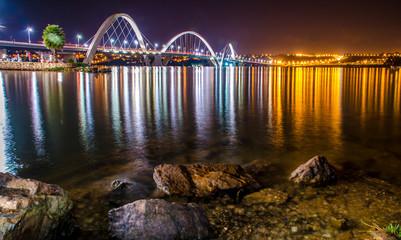 BRASILIA, BRAZIL -25 MAY  , 2014 ;Night view of  JK Bridge in Brasilia on May 25, 2014.