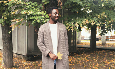 Wall Mural - Fashion portrait happy smiling african man looking away holds yellow maple leaves in autumn park