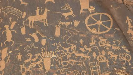 shot of american indian art on newspaper rock, utah