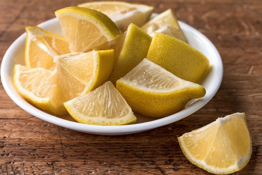 Lemon Wedges in a Bowl