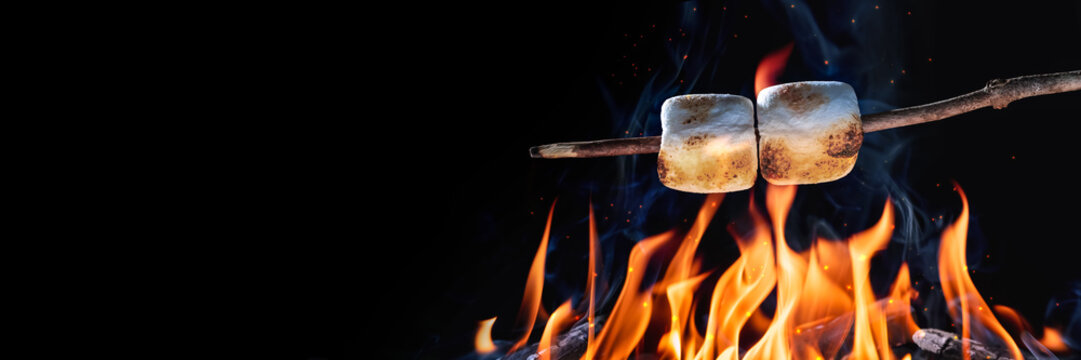 Banner Of Two Marshmallows On A Stick Roasting Over Campfire On Black Background - Camping/Summer Fun Concept