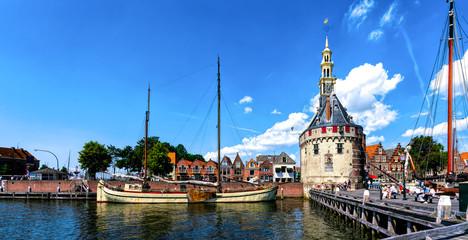 The Hoofdtoren (The Head Tower) in Hoorn, Netherlands, viewed from the waterfront