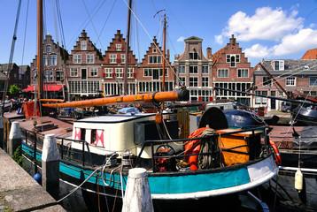 Ancient buildings by the Hoofdtooren in Hoorn, Netherlands