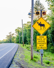 Yellow Public Street Sign Warning of High Rate of Moose to Car Crashes in the Next Three and a Half 3.5 Miles