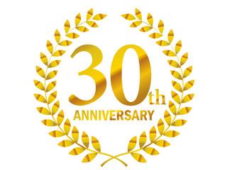 月桂樹をモチーフにしたアニバーサリーのゴールドメタリックのロゴ_30周年・月桂冠・ローレル_30th Anniversary logo
