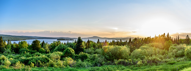 A Panoramic View of the Landscape View of Rangeley Maine in the Center of the Rangeley Lakes Region