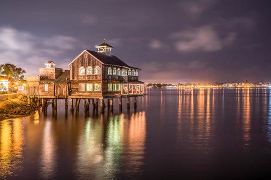 Pier Cafe at night, San Diego, California