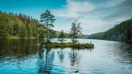 Nøklevann, noklevann, jezioro, oslo, norwegia, norge, norway, drzewo, woda, starorzecze, ostmarka, Østmarka, skandynawia, scandinavia Wall mural