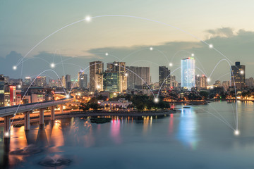 Smart city and wireless communication network concept. Digital network connection lines of Hanoi at Hoang Cau lake