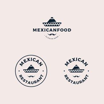 Mexican restaurant badge logo design vector illustration