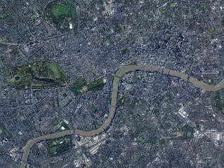 High resolution Satellite image of London, England (Isolated imagery of England. Elements of this image furnished by NASA)