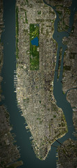 High resolution Satellite image of Manhattan, New York (Isolated imagery of USA. Elements of this image furnished by NASA)