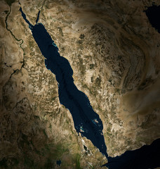 High resolution Satellite image of the Red Sea(Elements of this image furnished by NASA)