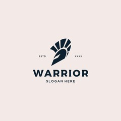 Warrior spartan Helmet Logo design vector illustration