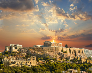 Wall Mural - parthenon athens greece sunset autumn colors