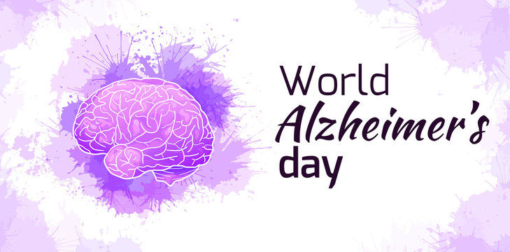 International Alzheimers Day. Horizontal card with human brain on purple watercolor stains. Disease and extinction. Vector banner for medical articles, banners, cards and your design.