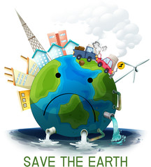 Canvas Prints Kids Sad polluted save the earth poster