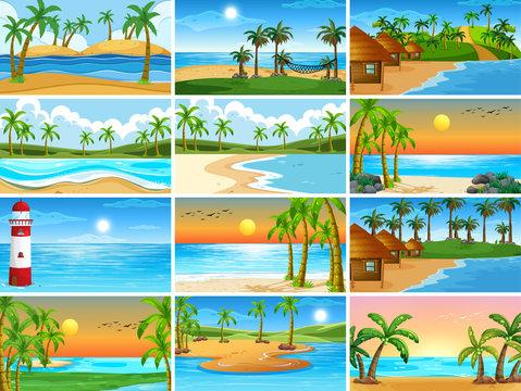 Set of beach scenes