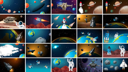 Printed kitchen splashbacks Kids Large set of outer space scenes