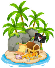 Treasure on island beach scene