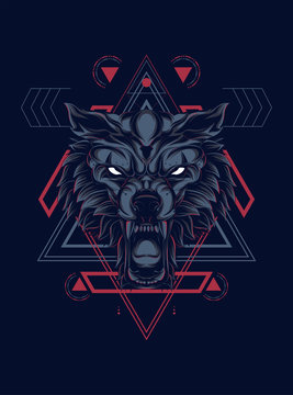 wild wolf head logo illustration with sacred geometry pattern as the background