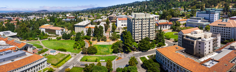 Panoramic view of the University of California, Berkeley campus on a sunny day, view towards...