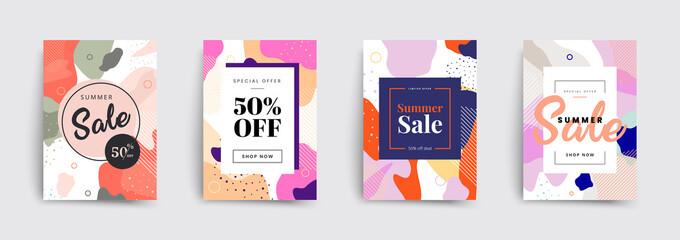 Fototapeta Set of sale brochures templates. Memphis covers design. Trendy colorful bubble shapes composition. Vector backgrounds. obraz