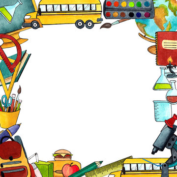 school frame, frame of school objects, digital clipart of school supplies, card, letter