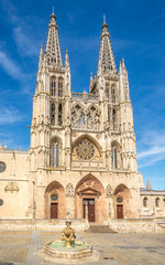 View at the Cathedral of Saint Mary from Santa Maria place in Burgos - Spain