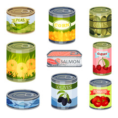 Set of closed cans. Vector illustration on white background.