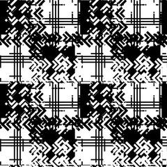 Seamless pattern patchwork design. Herringbone black and white print with scribble and tweed tiles. Watercolor effect. Suitable for bed linen, leggings, shorts and fashion industry.