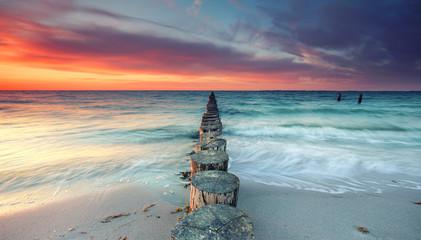 Wall Mural - magischer Sonnenuntergang am Meer