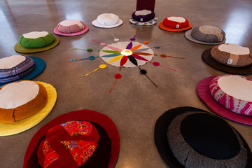 Sacred items form circle in prayer room. A closeup view on the 12 colors of the Native American-Indian symbolic color wheel, laid around a compass inside a worship room, believed to bring good health.