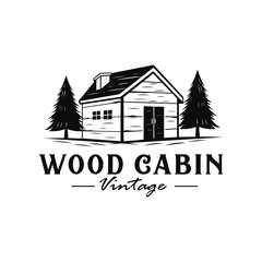 Wood cabin vintage logo with hand drawn style