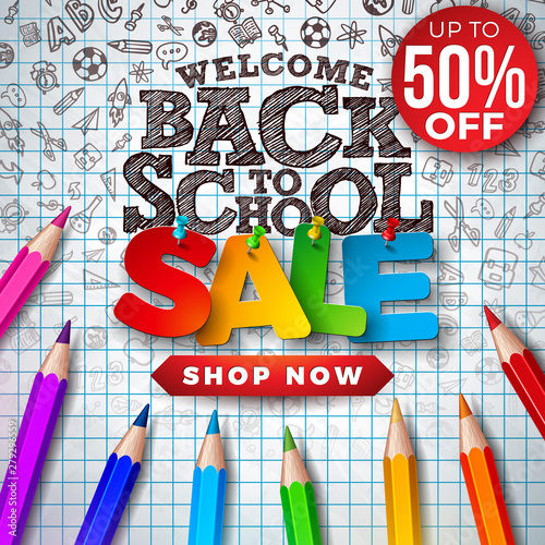 Back to School Sale Design with Colorful Pencil and Hand