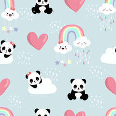 Cute background with panda,heart,rainbow,cloud.Vector illustration seamless pattern for background,wallpaper,frabic.Editable element