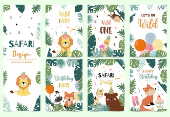 Green collection of safari background set with lion,fox,bear,giraffe,monkey.Editable vector illustration for birthday invitation,postcard and sticker.Wording include wild one
