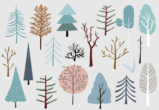 Winter tree set with blue,brown,pink illustration for sticker,postcard,background,christmas invitation