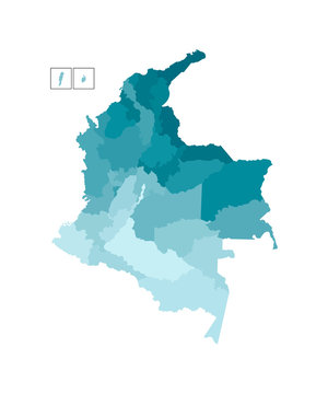 Vector isolated illustration of simplified administrative map of Colombia. Borders of the departments (regions). Colorful blue khaki silhouettes