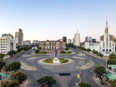 Independence square with City Hall and main Cathedral in Maputo, Mozambique
