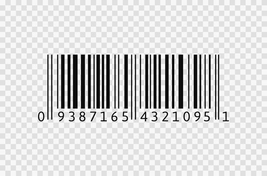 Barcode icon on transparent background. Realistic isolated bar code.