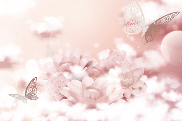 Pastel pink paper flowers and cloud