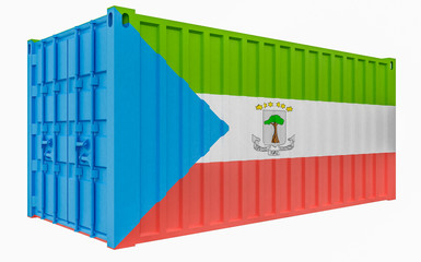 3D Illustration of Cargo Container with Equatorial Guinea Flag