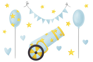 It's a boy. Party clip art set for babies, kids and baby shower: cannon, balloons and banners. Tender kit, individual elements on white background