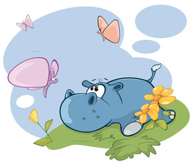 Vector Illustration Cute Little Hippo and Butterfly Comics Book