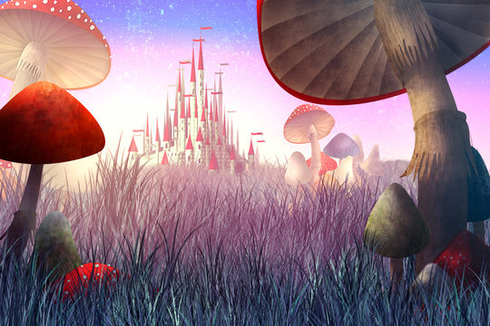 """fantastic landscape with mushrooms and fog. illustration to the fairy tale """"Alice in Wonderland"""""""