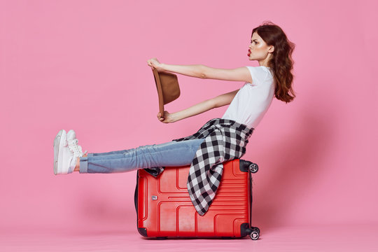 young woman with a suitcase