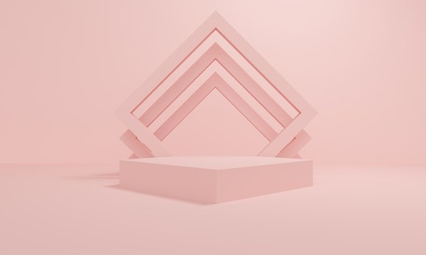 Geometric pink abstract background with square platform and frame. Minimalist backdrop design for product promotion. 3d rendering