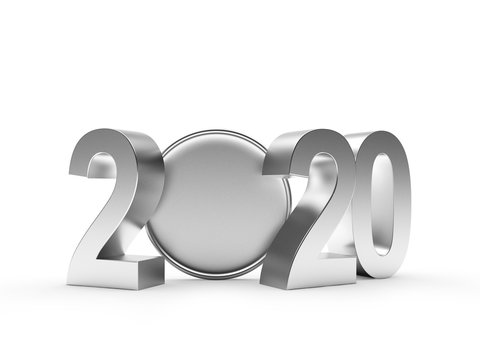 2020 New Year silver numbers and blank coin with space for text isolated on white background. 3D illustration